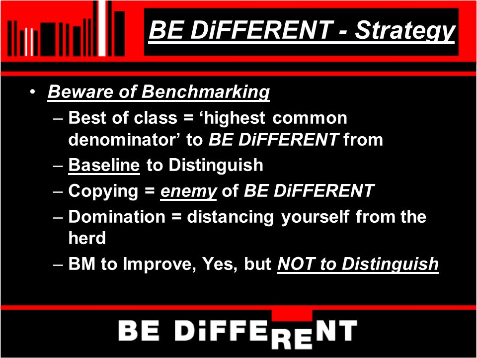 BE DiFFERENT - Strategy Beware of Benchmarking –Best of class = highest common denominator to BE DiFFERENT from –Baseline to Distinguish –Copying = enemy of BE DiFFERENT –Domination = distancing yourself from the herd –BM to Improve, Yes, but NOT to Distinguish