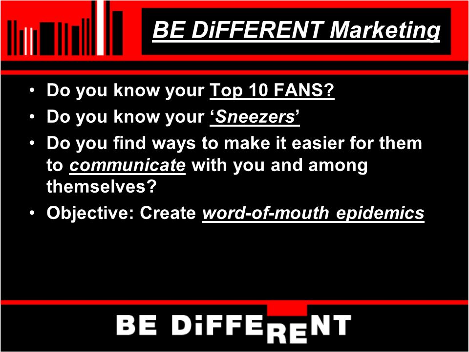 BE DiFFERENT Marketing Do you know your Top 10 FANS.