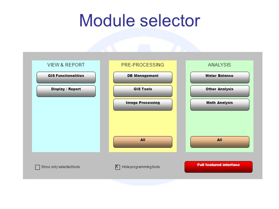 Module selector VIEW & REPORTPRE-PROCESSINGANALYSIS GIS Functionalities Display / Report DB Management GIS Tools Image Processing All Math Analysis Other Analysis Water Balance Full featured interface X Hide programming tools Show only selected tools