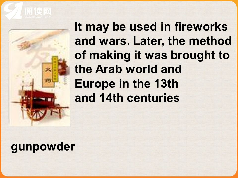 It may be used in fireworks and wars.