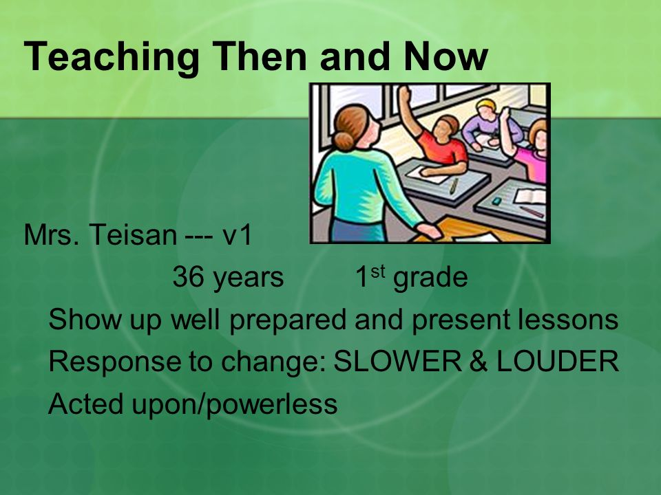 Teaching Then and Now Mrs.