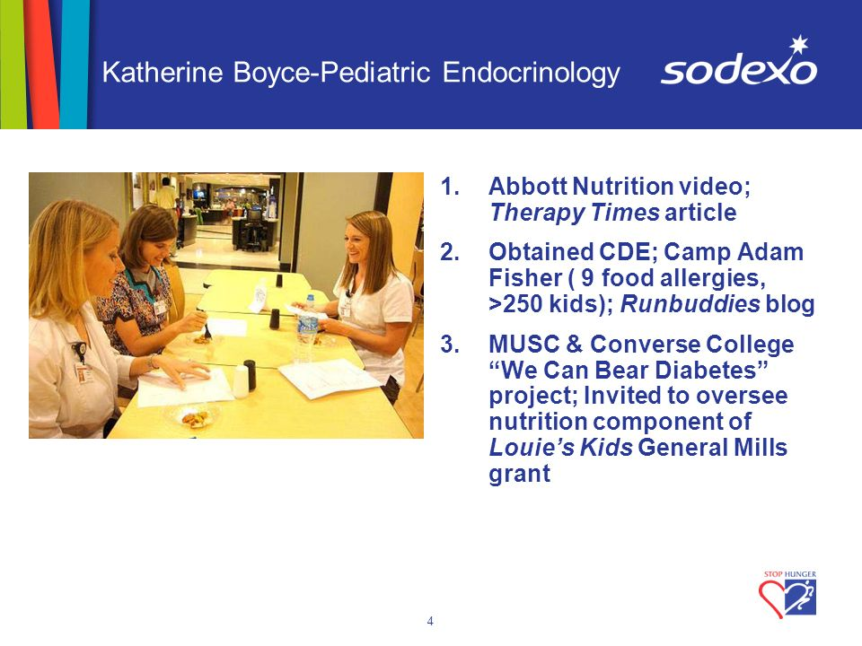 4 Katherine Boyce-Pediatric Endocrinology 1.Abbott Nutrition video; Therapy Times article 2.Obtained CDE; Camp Adam Fisher ( 9 food allergies, >250 kids); Runbuddies blog 3.MUSC & Converse College We Can Bear Diabetes project; Invited to oversee nutrition component of Louies Kids General Mills grant