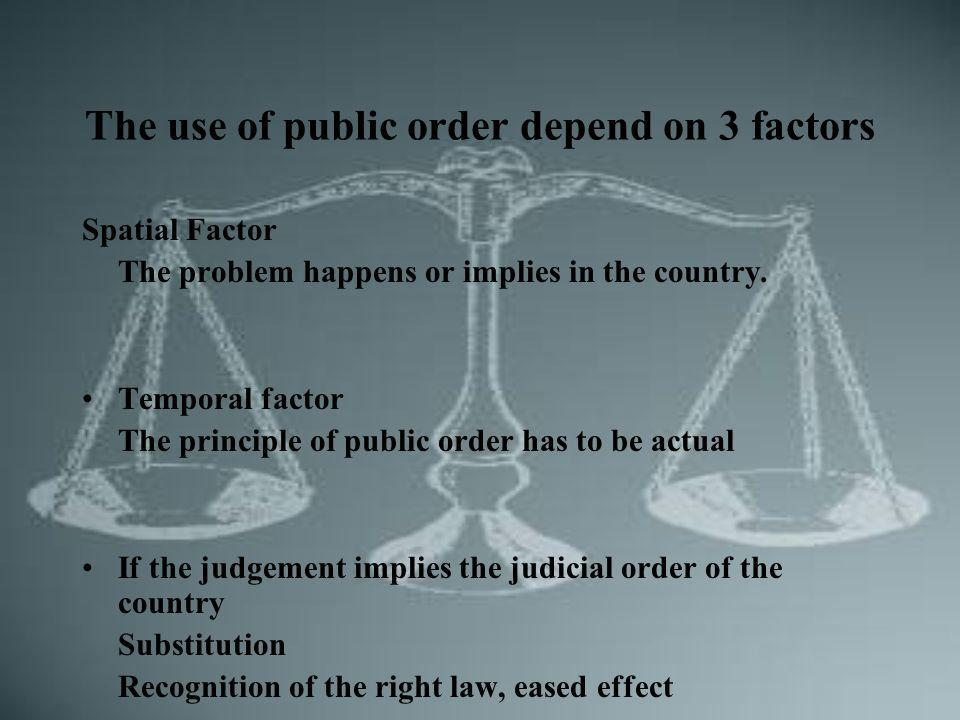 The use of public order depend on 3 factors Spatial Factor The problem happens or implies in the country.