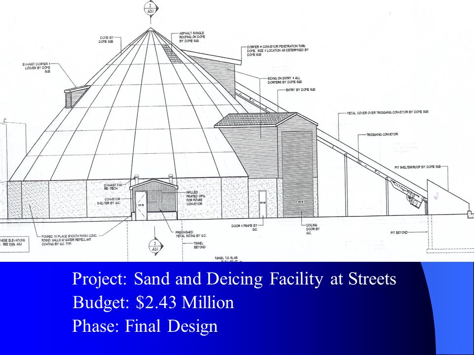 Budget: $2.43 Million Project: Sand and Deicing Facility at Streets Phase: Final Design