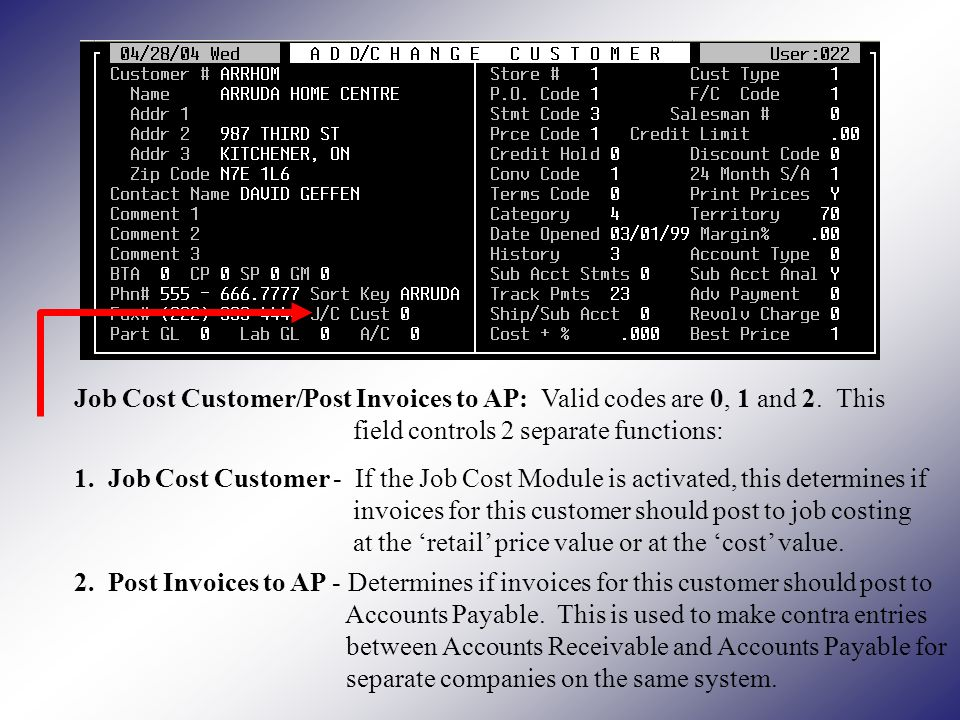 Job Cost Customer/Post Invoices to AP: Valid codes are 0, 1 and 2.