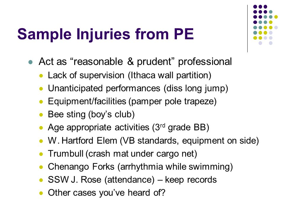 Sample Injuries from PE Act as reasonable & prudent professional Lack of supervision (Ithaca wall partition) Unanticipated performances (diss long jump) Equipment/facilities (pamper pole trapeze) Bee sting (boys club) Age appropriate activities (3 rd grade BB) W.