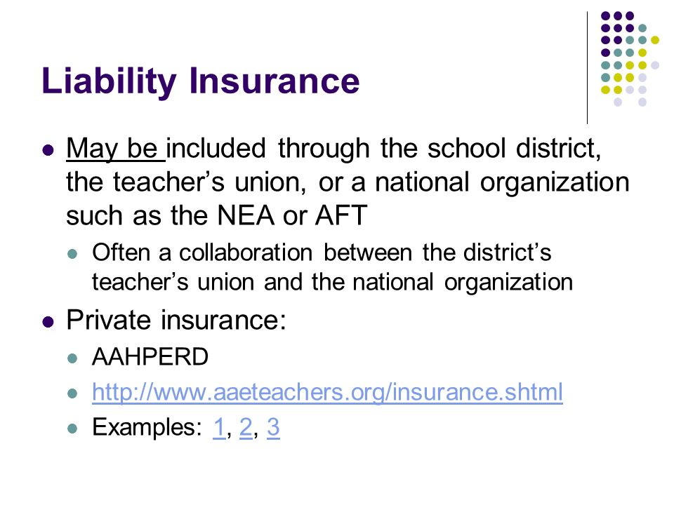 Liability Insurance May be included through the school district, the teachers union, or a national organization such as the NEA or AFT Often a collaboration between the districts teachers union and the national organization Private insurance: AAHPERD http://www.aaeteachers.org/insurance.shtml Examples: 1, 2, 3123