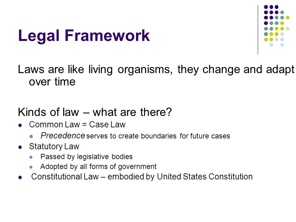 Legal Framework Laws are like living organisms, they change and adapt over time Kinds of law – what are there.