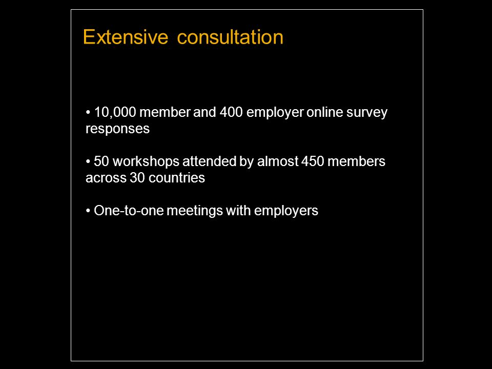 10,000 member and 400 employer online survey responses 50 workshops attended by almost 450 members across 30 countries One-to-one meetings with employers