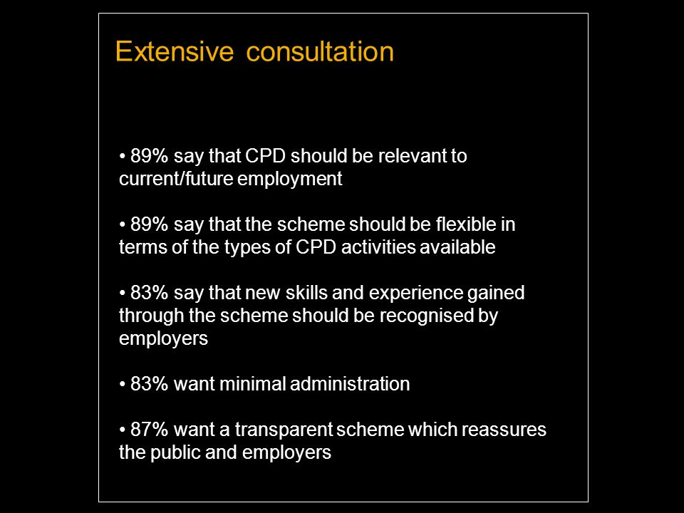 Extensive consultation 89% say that CPD should be relevant to current/future employment 89% say that the scheme should be flexible in terms of the types of CPD activities available 83% say that new skills and experience gained through the scheme should be recognised by employers 83% want minimal administration 87% want a transparent scheme which reassures the public and employers