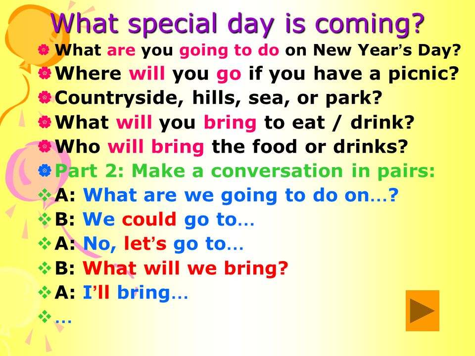 What special day is coming. What are you going to do on New Year s Day.