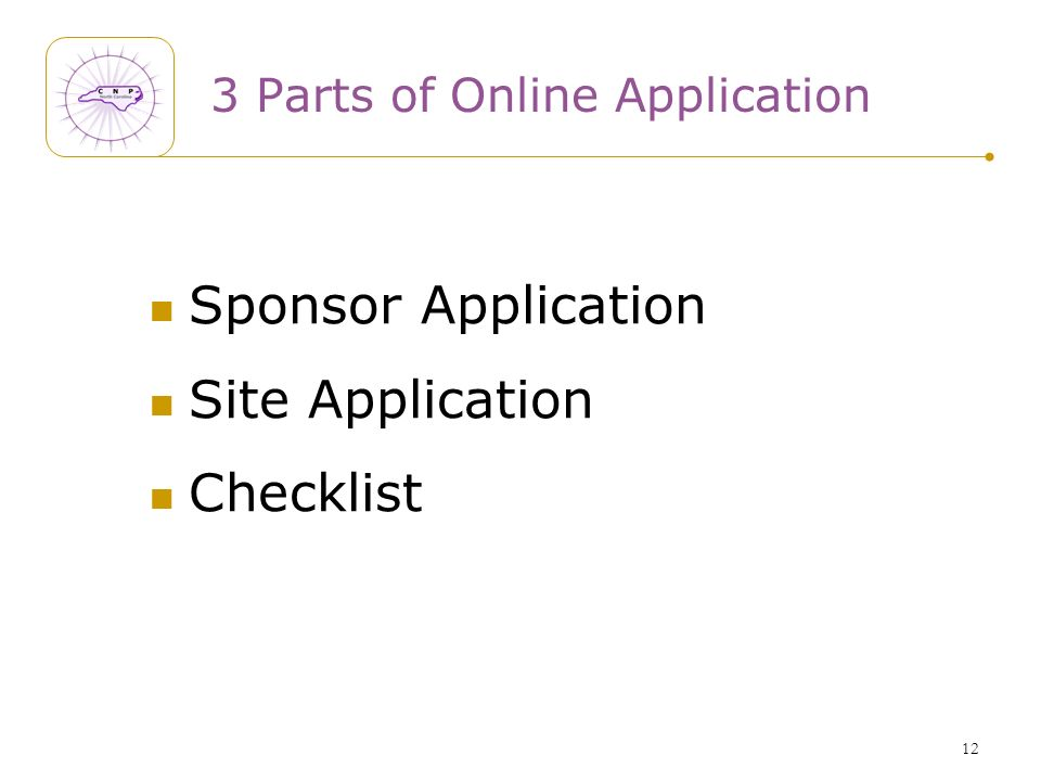 12 3 Parts of Online Application Sponsor Application Site Application Checklist