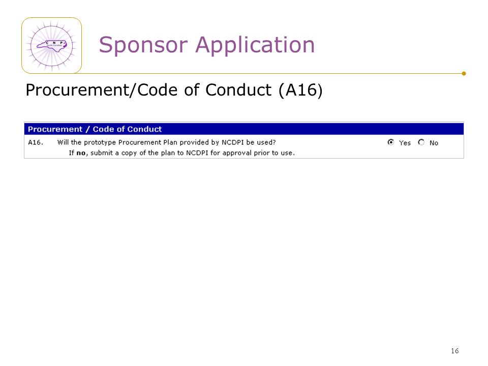16 Sponsor Application Procurement/Code of Conduct (A16 )