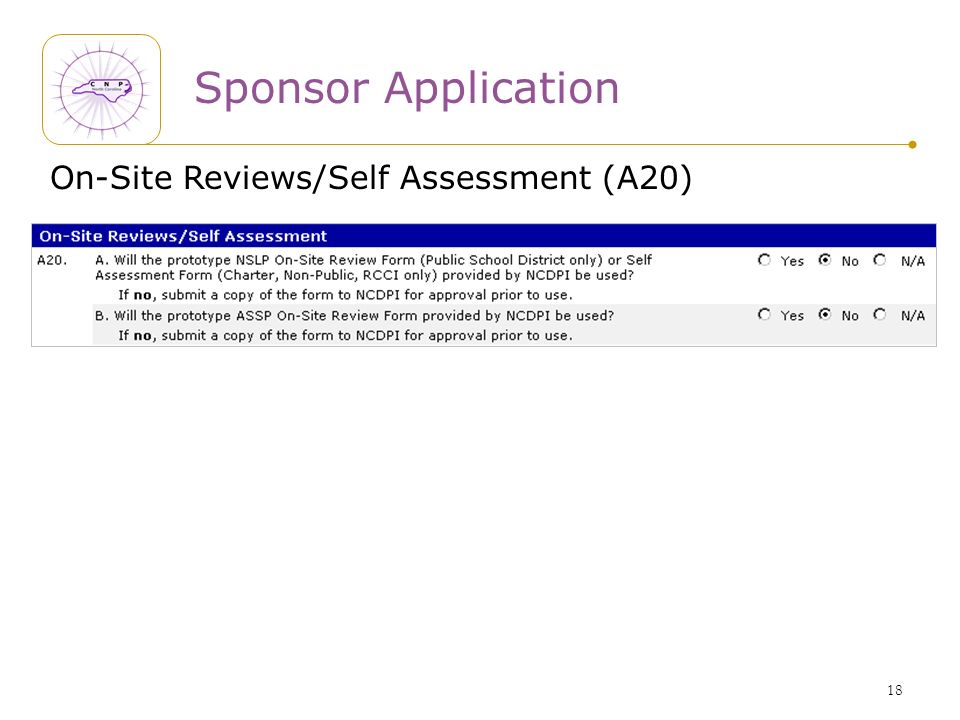 18 Sponsor Application On-Site Reviews/Self Assessment (A20)