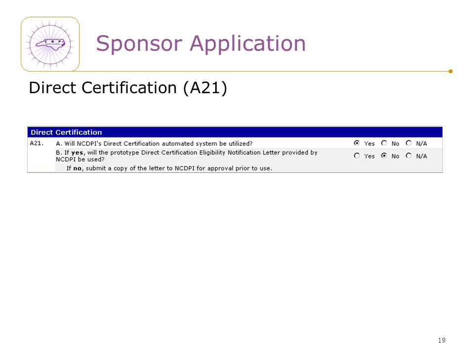 19 Sponsor Application Direct Certification (A21)