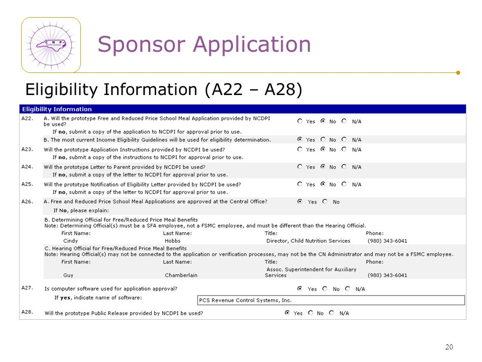 20 Sponsor Application Eligibility Information (A22 – A28)