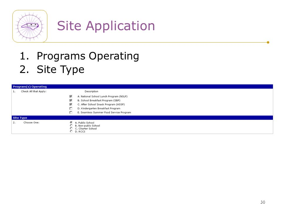 30 Site Application 1. Programs Operating 2. Site Type