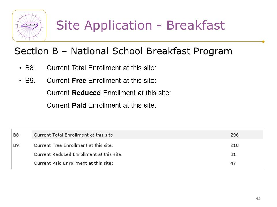 43 Site Application - Breakfast Section B – National School Breakfast Program B8.Current Total Enrollment at this site: B9.Current Free Enrollment at this site: Current Reduced Enrollment at this site: Current Paid Enrollment at this site: