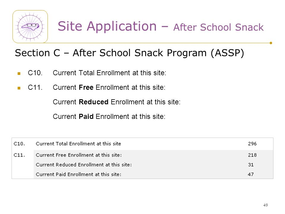 49 Section C – After School Snack Program (ASSP) C10.Current Total Enrollment at this site: C11.Current Free Enrollment at this site: Current Reduced Enrollment at this site: Current Paid Enrollment at this site: Site Application – After School Snack