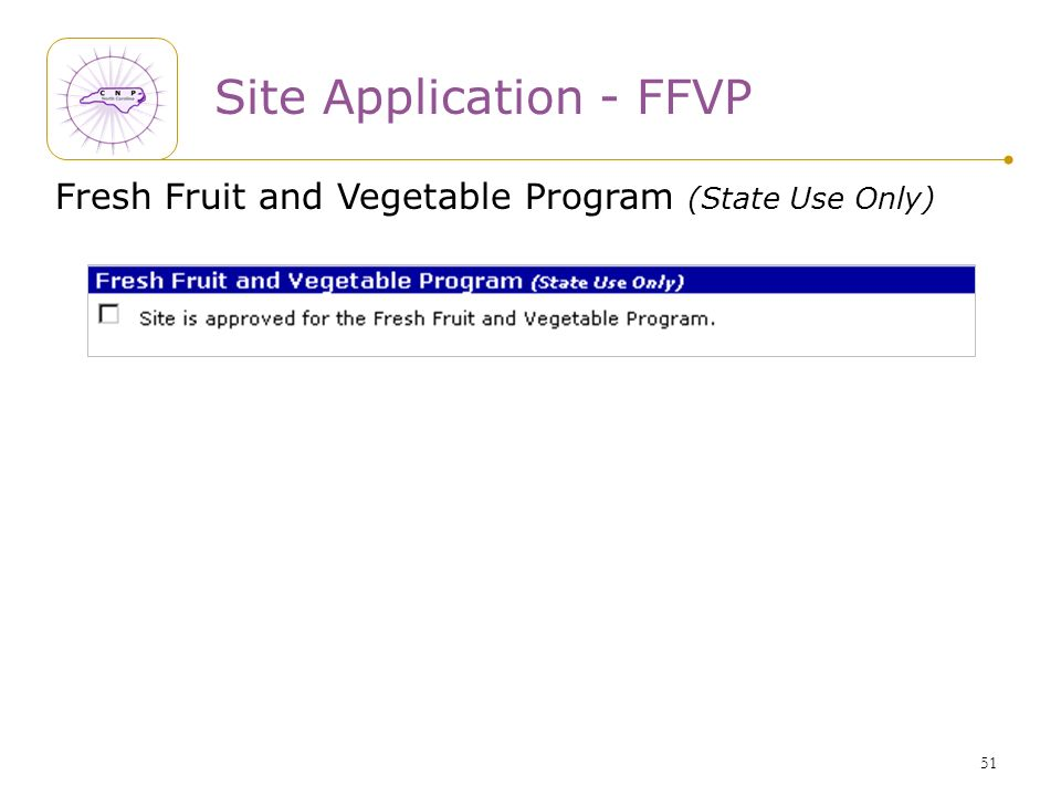 51 Site Application - FFVP Fresh Fruit and Vegetable Program (State Use Only)
