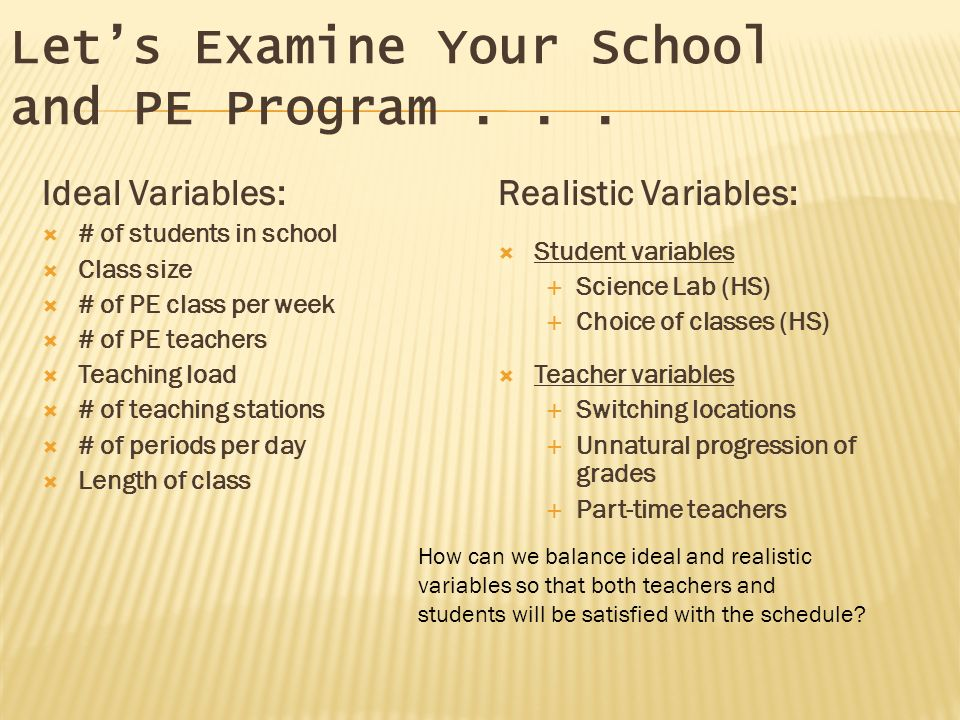 Ideal Variables: # of students in school Class size # of PE class per week # of PE teachers Teaching load # of teaching stations # of periods per day Length of class Realistic Variables: Student variables Science Lab (HS) Choice of classes (HS) Teacher variables Switching locations Unnatural progression of grades Part-time teachers Lets Examine Your School and PE Program...