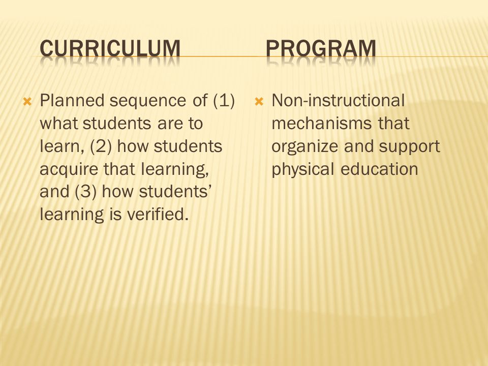 Planned sequence of (1) what students are to learn, (2) how students acquire that learning, and (3) how students learning is verified.
