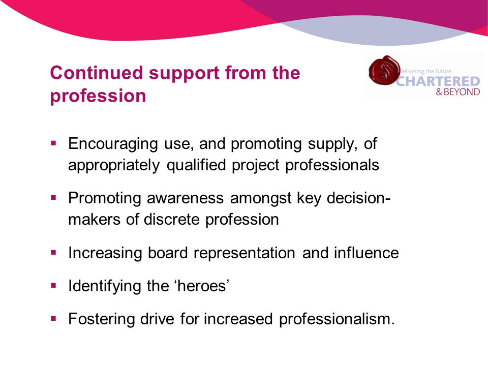 Continued support from the profession Encouraging use, and promoting supply, of appropriately qualified project professionals Promoting awareness amongst key decision- makers of discrete profession Increasing board representation and influence Identifying the heroes Fostering drive for increased professionalism.