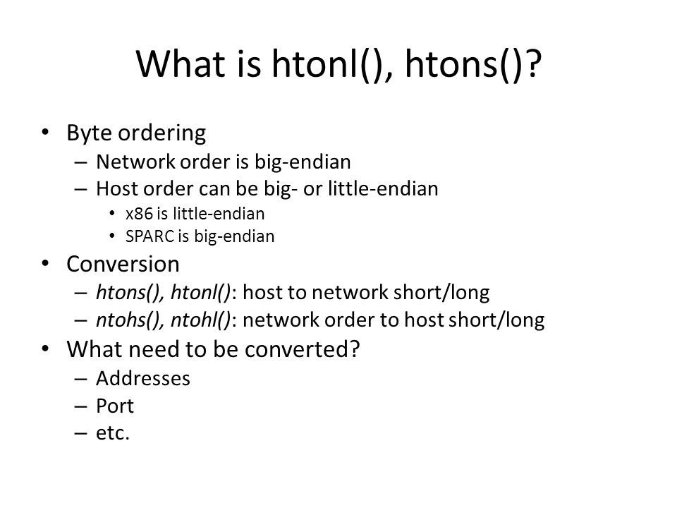 What is htonl(), htons().