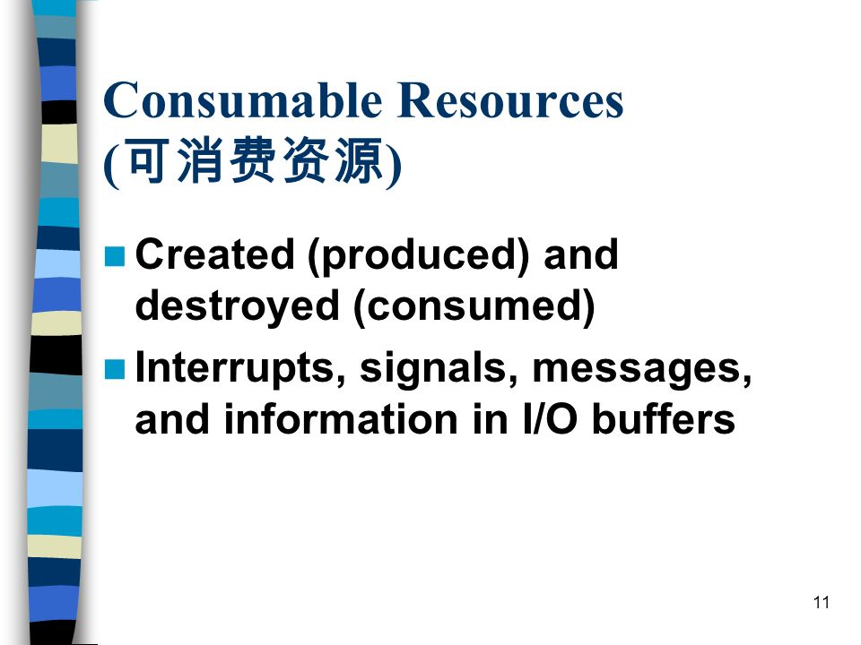 11 Consumable Resources ( ) Created (produced) and destroyed (consumed) Interrupts, signals, messages, and information in I/O buffers