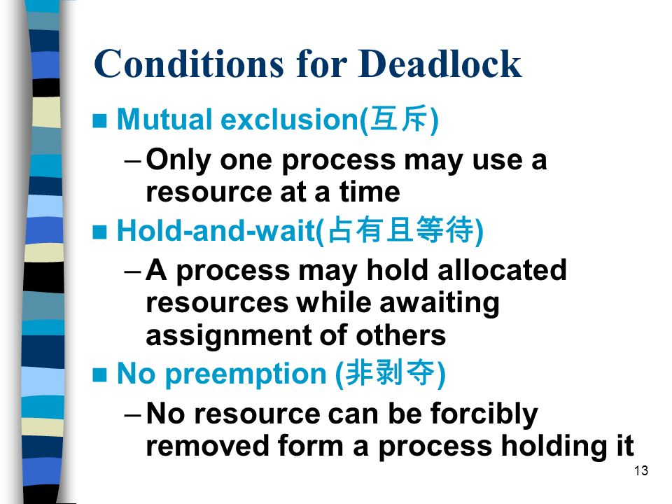13 Conditions for Deadlock Mutual exclusion( ) –Only one process may use a resource at a time Hold-and-wait( ) –A process may hold allocated resources while awaiting assignment of others No preemption ( ) –No resource can be forcibly removed form a process holding it
