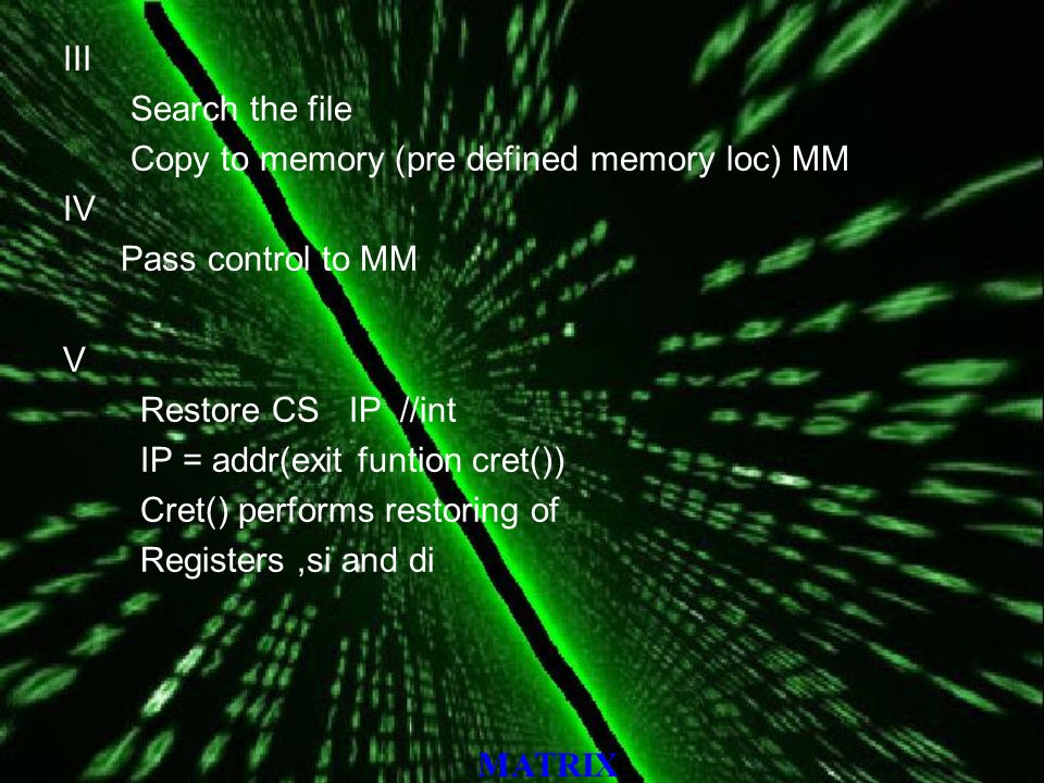 MATRIX III Search the file Copy to memory (pre defined memory loc) MM IV Pass control to MM V Restore CS IP //int IP = addr(exit funtion cret()) Cret() performs restoring of Registers,si and di