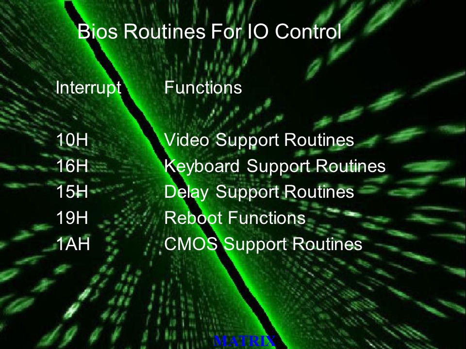 MATRIX Bios Routines For IO Control Interrupt 10H 16H 15H 19H 1AH Functions Video Support Routines Keyboard Support Routines Delay Support Routines Reboot Functions CMOS Support Routines