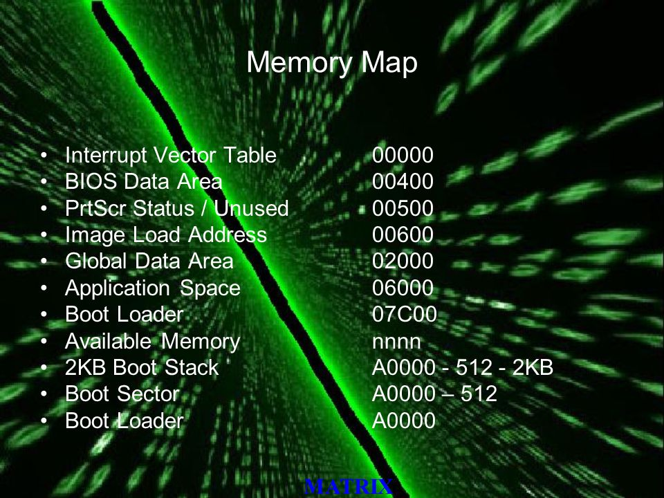 MATRIX Memory Map Interrupt Vector Table BIOS Data Area PrtScr Status / Unused Image Load Address Global Data Area Application Space Boot Loader 07C00 Available Memory nnnn 2KB Boot Stack A KB Boot Sector A0000 – 512 Boot Loader A0000