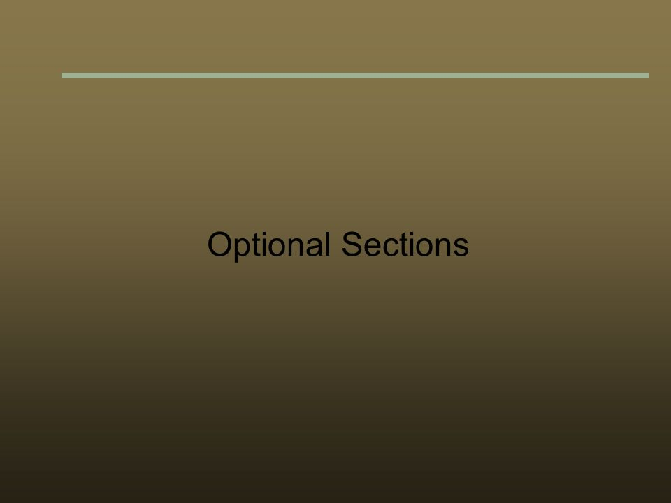 Optional Sections