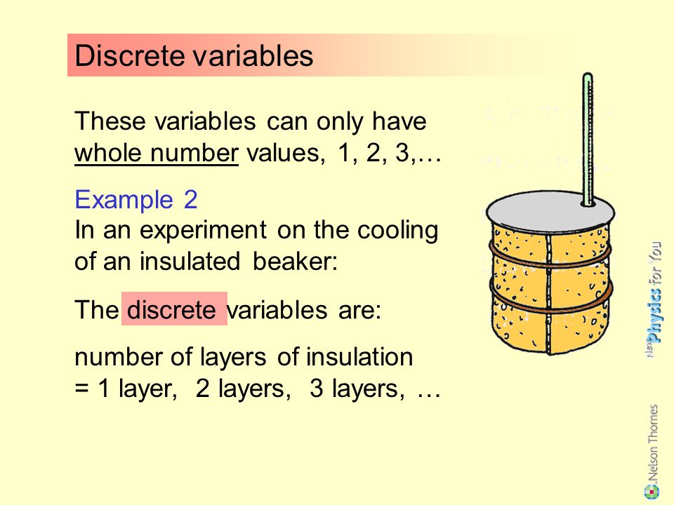 These variables can only have whole number values, 1, 2, 3,… Example 1 1 weight, 2 weights, 3 … In an experiment to investigate the stretching of a spring: Discrete variables The discrete variables are: