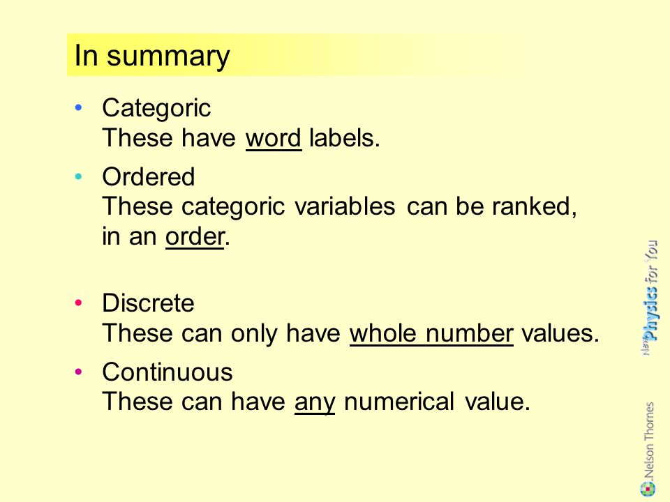 These variables can have any numerical value.