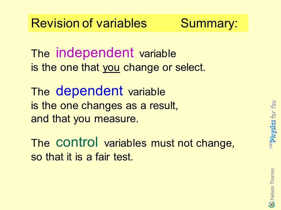 Revision of variables Can you remember what is meant by… …an independent variable.