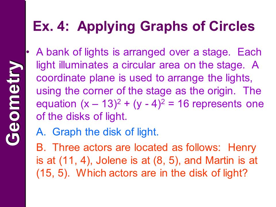 GeometryGeometry Ex. 4: Applying Graphs of Circles A bank of lights is arranged over a stage.