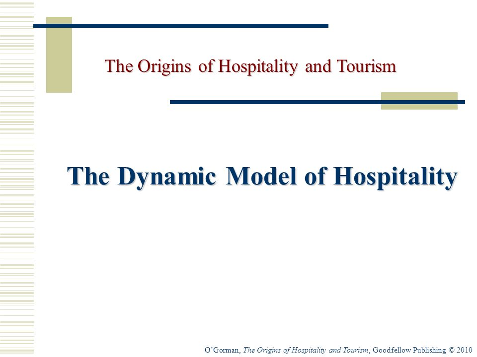 OGorman, The Origins of Hospitality and Tourism, Goodfellow Publishing © 2010 The Dynamic Model of Hospitality The Origins of Hospitality and Tourism