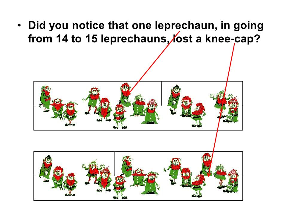 Did you notice that one leprechaun, in going from 14 to 15 leprechauns, lost a knee-cap