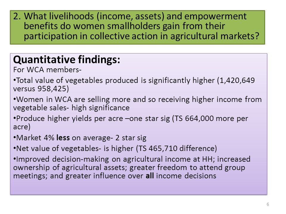 2.What livelihoods (income, assets) and empowerment benefits do women smallholders gain from their participation in collective action in agricultural markets.