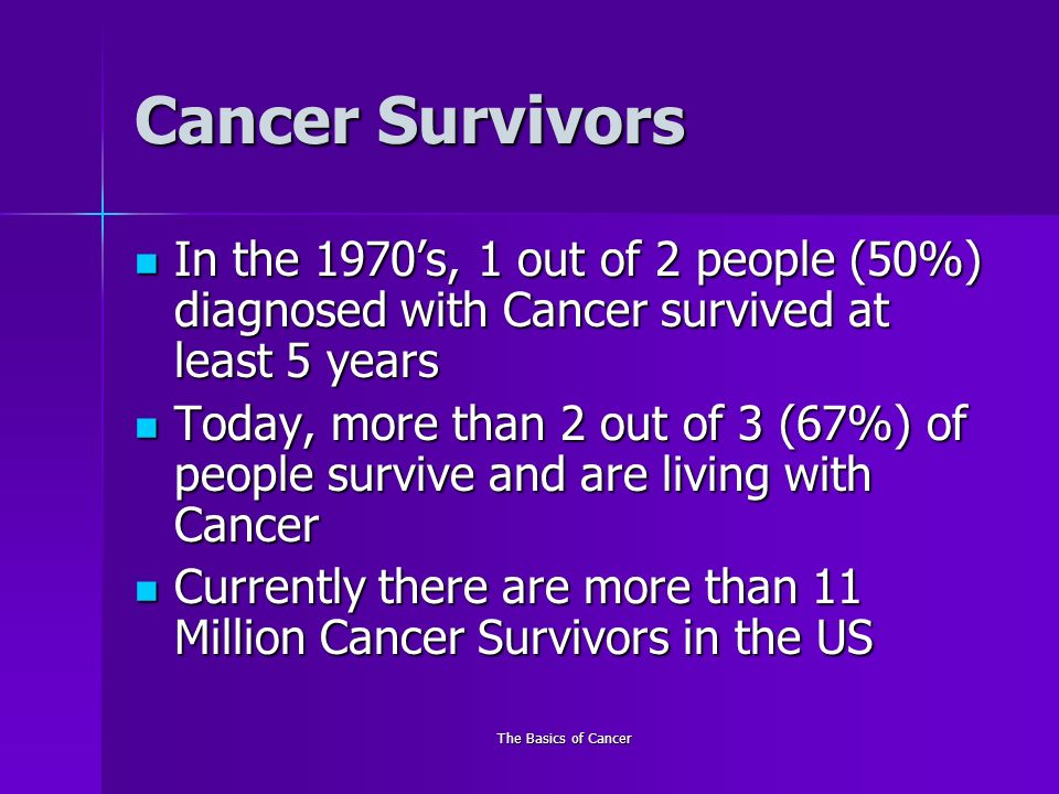 The Basics of Cancer Cancer Survivors In the 1970s, 1 out of 2 people (50%) diagnosed with Cancer survived at least 5 years In the 1970s, 1 out of 2 people (50%) diagnosed with Cancer survived at least 5 years Today, more than 2 out of 3 (67%) of people survive and are living with Cancer Today, more than 2 out of 3 (67%) of people survive and are living with Cancer Currently there are more than 11 Million Cancer Survivors in the US Currently there are more than 11 Million Cancer Survivors in the US