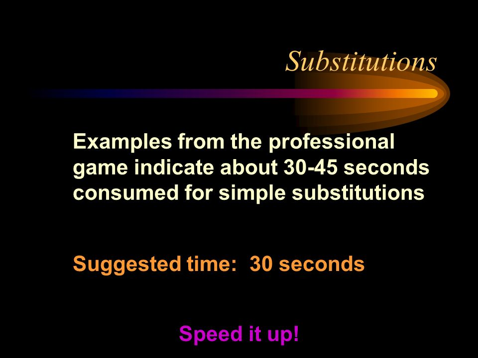 Substitutions Examples from the professional game indicate about seconds consumed for simple substitutions Speed it up.