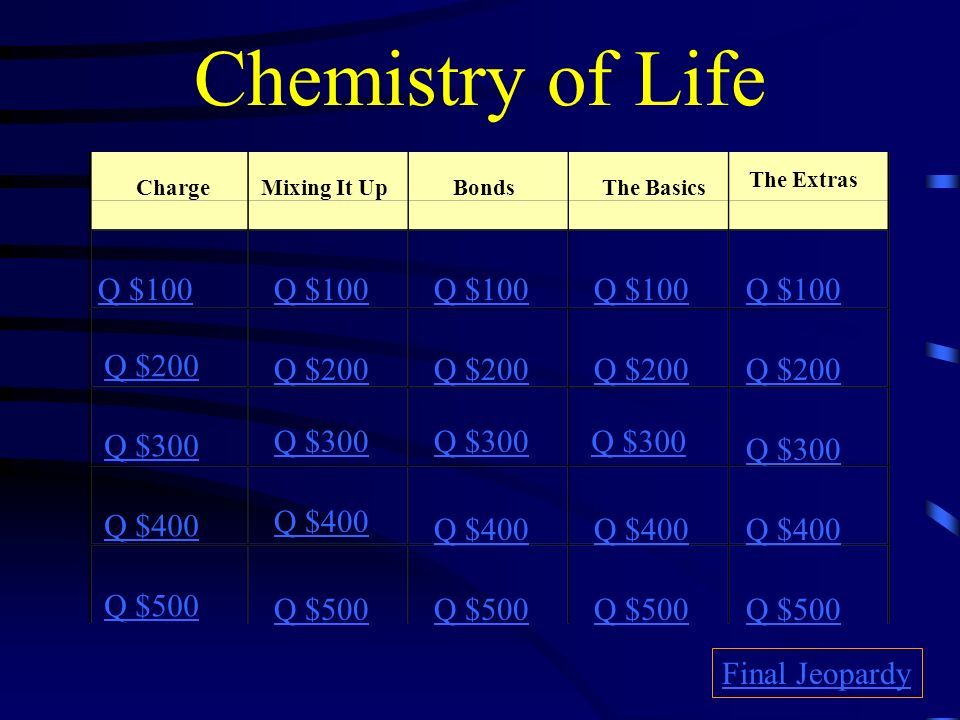 Chemistry of Life Jeopardy Directions In Jeopardy, remember the answer is in the form of a question.