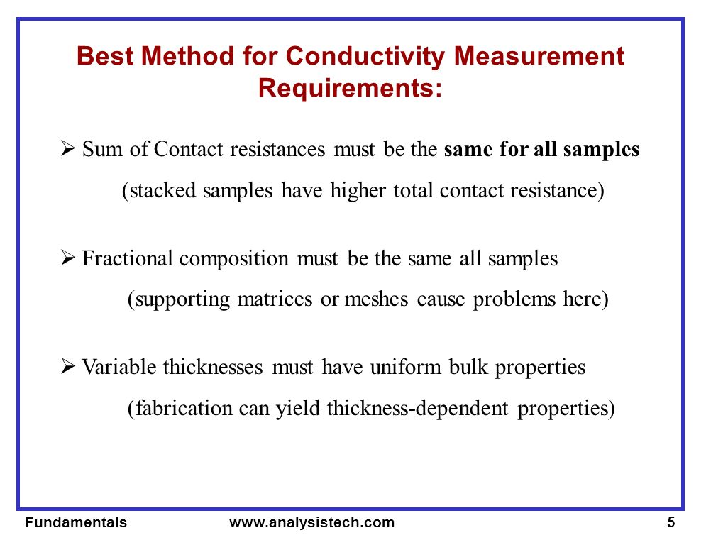 Fundamentals   Best Method for Conductivity Measurement Requirements: Sum of Contact resistances must be the same for all samples (stacked samples have higher total contact resistance) Fractional composition must be the same all samples (supporting matrices or meshes cause problems here) Variable thicknesses must have uniform bulk properties (fabrication can yield thickness-dependent properties)