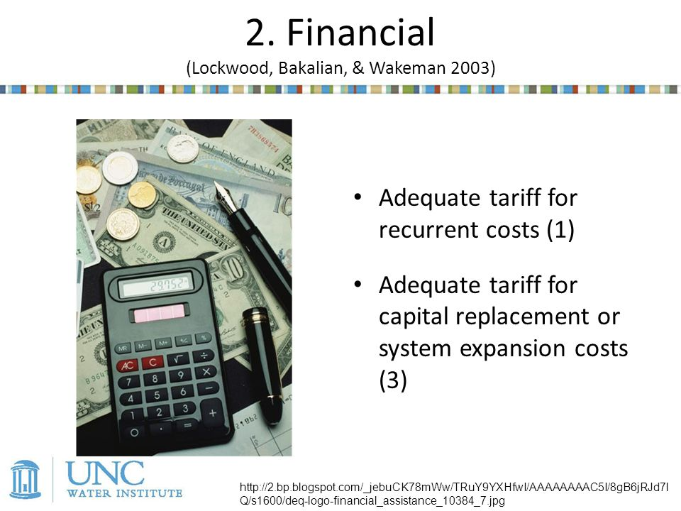 Adequate tariff for recurrent costs (1) Adequate tariff for capital replacement or system expansion costs (3) 2.