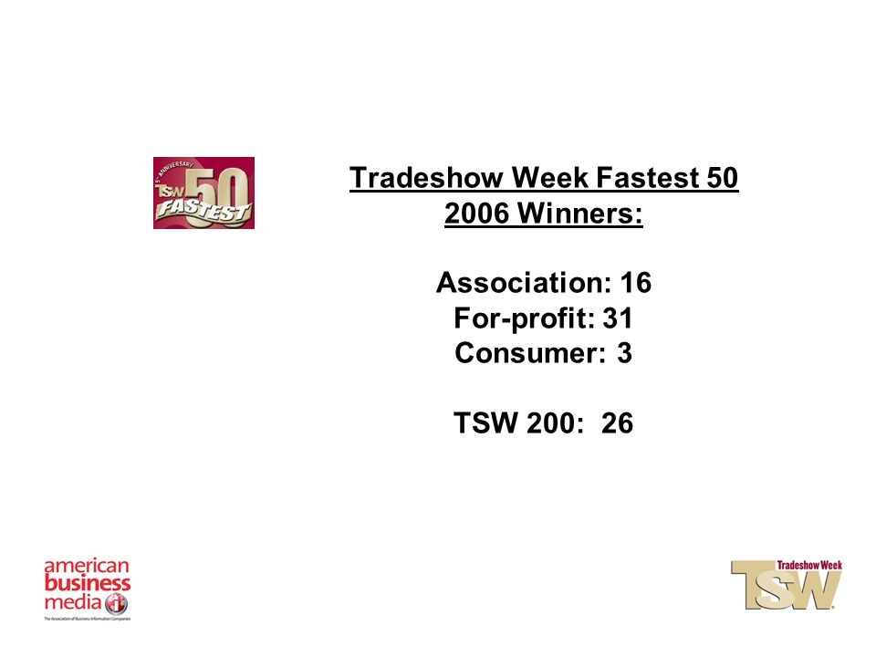 Tradeshow Week Fastest Winners: Association: 16 For-profit: 31 Consumer: 3 TSW 200: 26