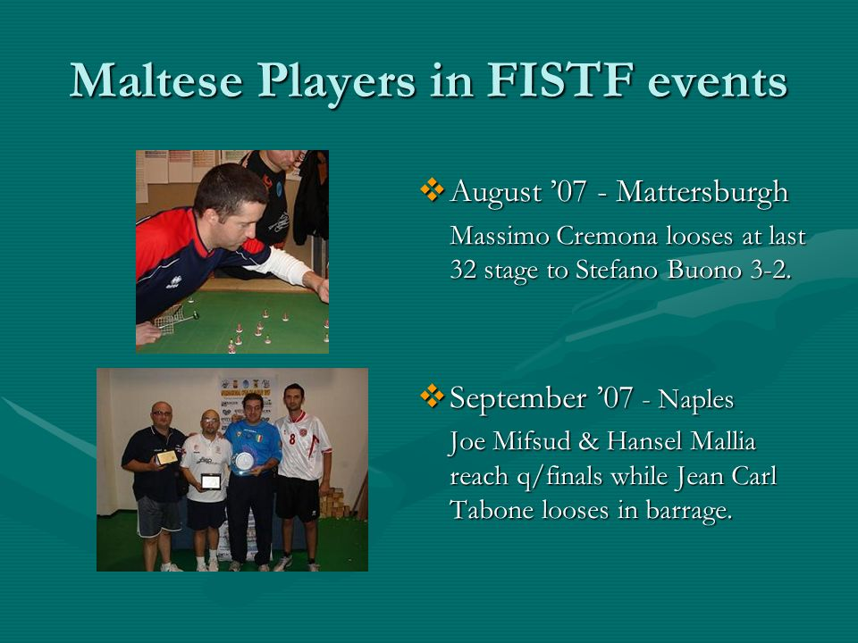 Maltese Players in FISTF events August 07 - Mattersburgh Massimo Cremona looses at last 32 stage to Stefano Buono 3-2.