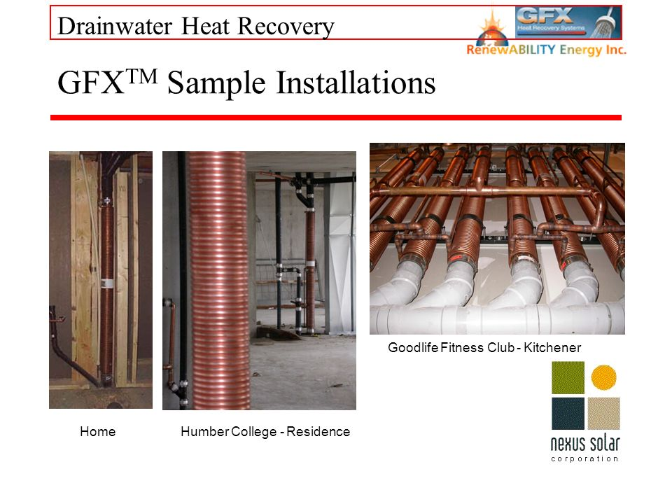 Drainwater Heat Recovery GFX TM Sample Installations Home Goodlife Fitness Club - Kitchener Humber College - Residence