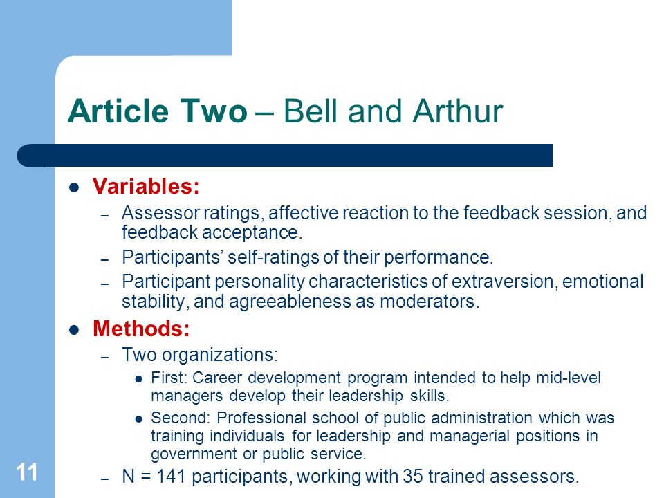 11 Article Two – Bell and Arthur Variables: – Assessor ratings, affective reaction to the feedback session, and feedback acceptance.